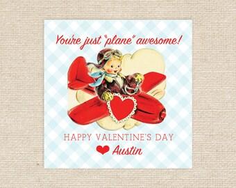 Printable Airplane Valentine Tags
