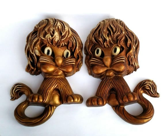 Vintage 1960's Golden Lion Wall Plaques by Homco