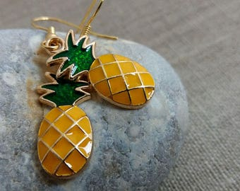 Pineapple Earrings. Summer Jewelry. Pineapple Charms Earrings. Fruit Earrings. Gift Under 10