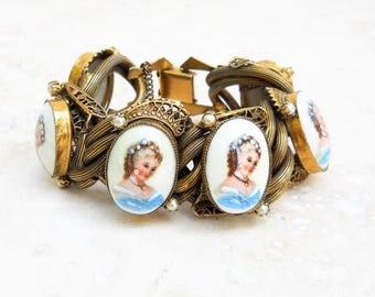 Vintage 1940s Painted Porcelain Portrait Bracelet