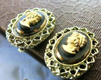 vintage jewelry gold cameo earrings vintage clipon earrings black and gold cameo gift for her lace edge gold filigree earrings 1970s jewelry