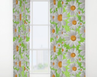 """Daisy Window Curtains 50"""" x 84"""" Bedroom drapes White, Green, Yellow, Grey, Modern, Nature, Bright, Colorful, flower, garden bloom herb plant"""