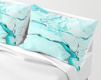 Blue Marble Pillow Sham standard or king SET OF 2, White Black Aqua Turquoise Stone Texture Girls Dorm Bedding Teen Room Decor Bright vivid
