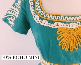 Vintage 70s boho embroidered mini dress - 1970s mexican southwest short dress - small