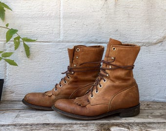 7.5 B | All Leather Brown Justin Roper Lace Boots