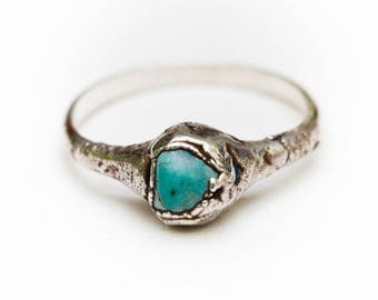 TURQUOISE NUGGET RING • Turquoise and Silver Electroformed Ring