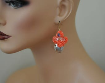 Dangle Earrings, Orange rose earrings, Drop Clear crystal and orange rose, Gift for her, Summer earrings