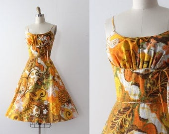 vintage 1950s sun dress // 50s orange abstract day dress