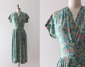 vintage 1940s dress // 40s novelty silk dress