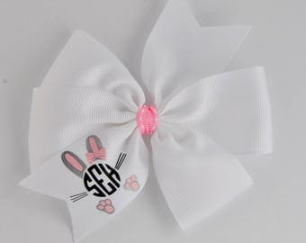 Easter Hair bow Monogram hair bow custom Easter monogram hair bow White monogram Easter bow no slip monogram hair bow Easter bow 4 inch bow