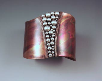 Copper Cuff- Powerful Goddess- Tribal Rustic Earthy- Boho Chic- Warrior- Mixed Metal- Signature RedPaw- Statement Cuff Bracelet