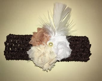 """1.5"""" standard crochet headband with 1.75"""" shabby fabric flowers, and feathers. Brown, Tan, Cream and White."""