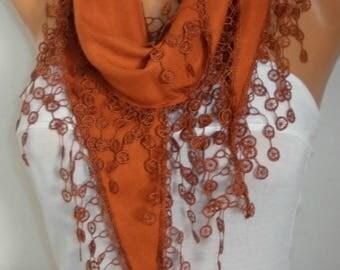 Burnt Orange Pashmina Scarf, Summer Scarf, Birthday Gift, Cowl Bridesmaid Bridal Accessories Gift Ideas for Her Women Fashion Accessories