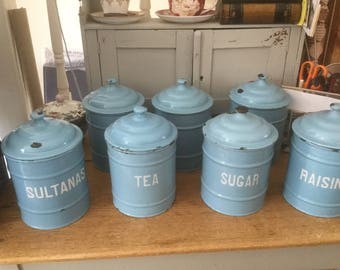 1940's enamel canister set large
