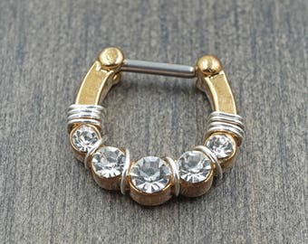 Clear Crystal Gold Septum Ring Clicker Daith Ring Rook Earring
