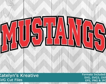 Mustangs Arched SVG Files