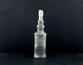 """Decorative Clear Glass """"Whiskey Style"""" Bottle with Cork, 12"""" tall - Message in a Bottle, Infused Liquor and more"""