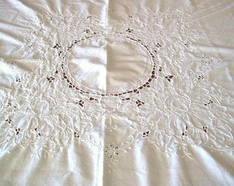White Cotton Fabric Tablecloth with Lots of Embroidery 46 x 46 inches