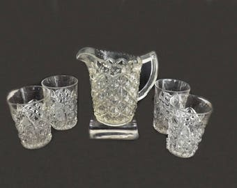 Vintage Crystal Pitcher and Glassware Set, Drinking Glasses, Water Pitcher, Serving Dishes, Crystal Dishes, Crystal Glassware, Bar Set,