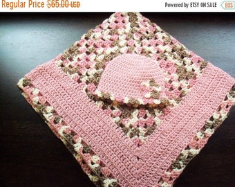 Christmas In July Sale Neopolitan Baby Blanket with Matching Hat 0 to 3 Months - Newborn Gift - Baby Shower Present - Baby Blanket Bundle
