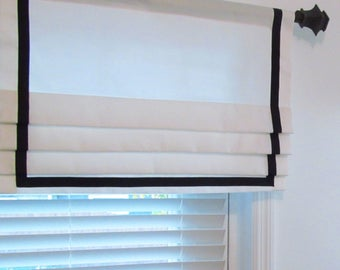 Contemporary  Banded Faux Roman Shades White & Black   Grosgrain  Ribbon Trim Custom Sizing Available!