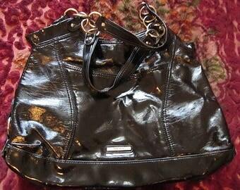 NINE WEST - Over The Top Faux Leather Designer's Large Black Shoulder Bag