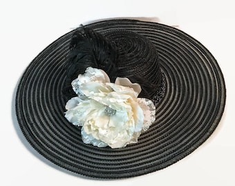 Black Wide Brimmed Hat With A Cream And White Lace Peony, Special Occasion Hat, Church Hat, Wedding Hat, Womens Accessory