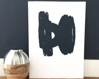 "Art Print . Contemporary Print . Abstract Etching . Minimalist Home . Navy Blue : ""Chance"" .  Print 17"" x 23"" . Unframed"