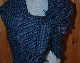 Jewel Tones Blanket Scarf with fringed edges.....NEW