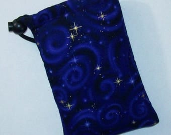 "Padded Pipe Pouch, Purple Pipe Case, Glass Pipe Bag, Night Stars Bag, Purple Sky Pouch, Hippie Bag, Padded Pouch, Smoke Bag - 5"" DRAWSTRING"