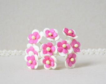 15 mm  /  10   Mixed Pink and White  Mulberry Paper  Flowers