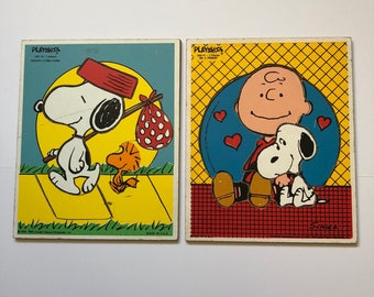 1965 Wooden Snoopy & Charlie Brown Puzzles