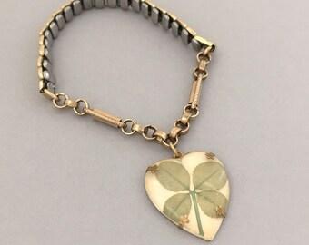 Unique Jewelry Gift Ideas for Women, Vintage Clover Charm Bracelet, Expansion Bracelet, Antique Watch Chain Bracelet, Heart Charm Bracelet