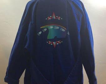 Vintage Sundance, Vintage Jeans, Jean Jacket,  Oversized Jacket, Jean Coat, Handpainted, Bear Drawing, Native Bear, 80s Clothing, 1980s