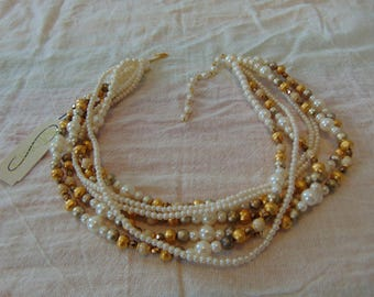 vintage monet nwt torsade necklace silver pearl gold 18''