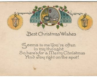 Lamp and Swags  Horse and Carriage Horse and Buggy Vintage Postcard Christmas Greetings