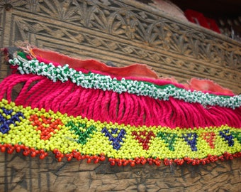 Beaded pink and yellow  long Kuchi indian piece band