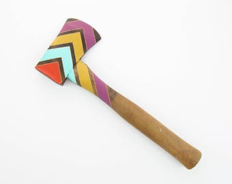 Vintage Hatchet - Orange, Aqua, Mustard & Mulberry Chevron - Home Decor