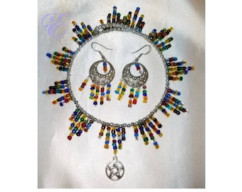 Vintage Multi-Color Glass Bead & Pentacle Choker and Earrings Set - Handcrafted