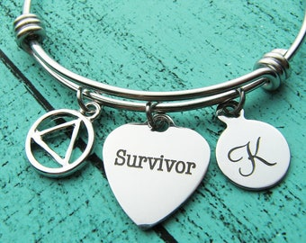 aa recovery gift, survivor bracelet, sobriety gift addiction recovery, strong women, sober gift for her, alcoholic anonymous anniversary