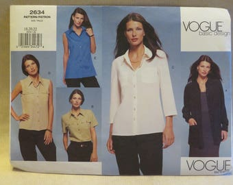 Vogue 2634 Plus Size Blouse Top Jacket Sewing Pattern 18 20 22 FF