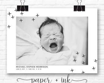 Cross Plus Modern Baby Birth Announcement
