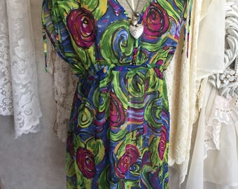 Vintage sheer dress or coverup, colorful gypsy boho