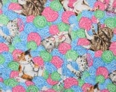 Pretty Kitty Yarn Quilting Fabric in Bright Fun Colors in Fat Quarter Square . Blue Pink Green Kittens Fun