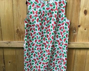 Vintage 60s Cherry Print Dress / Plus Size Cherry Shift Dress / Royal Miss Cherry Print Dress