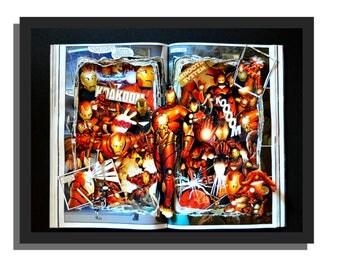IRON MAN Graphic Novel Book Sculpture 12x16x3 - Free Shipping