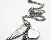 Reserved for Kathie - Dragonfly and Heart Urn Cremation Memorial Necklace - Stainless Steel - Cremation Jewelry