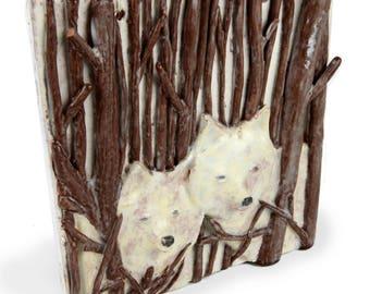 ceramic tile, wolf, handmade, three dimensional, white wolf, forest, woods, cream brown, mahogany, vintage tile art, tile art