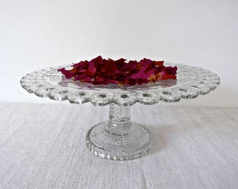 French vintage Cake Stand - Glass footed compote plate - French Cake dish - French pedestal Bowl - Cake Stand
