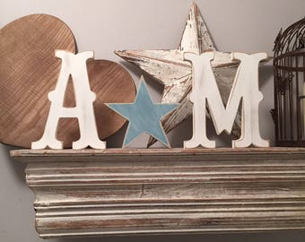 Wooden Wedding Letters and a Love Heart - various finishes and colours available - set of 3 - 15cm letters, 10cm star, Circus Font